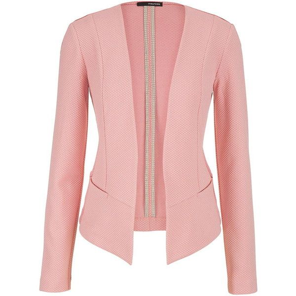 maurices Blazer With Textured Fabric In Pink Clay ($24) ❤ liked on Polyvore featuring outerwear, jackets, blazers, coats, casacos, pink clay, long jacket, red blazer, long pink jacket and maurices