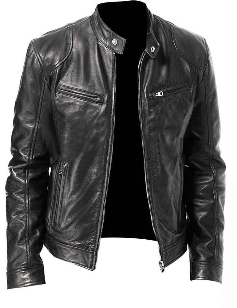 Genuine Lambskin Leather Jacket Men Motorcycle Biker Stand Collar Brown Black