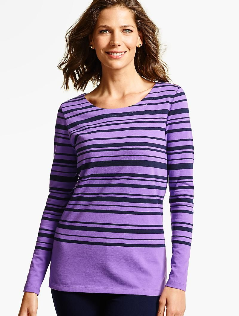 Heavyweight Long-Sleeve Knit Jersey Top - Marion Stripe - Talbots