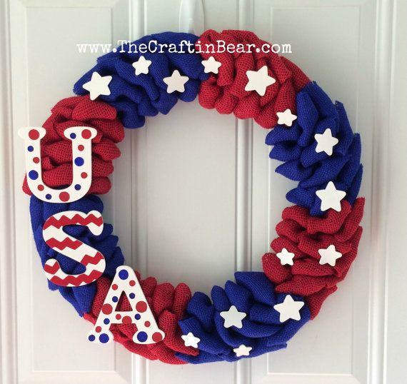 Burlap wreath - Patriotic wreath - red white & blue - 4th of July wreath - American wreath - 4th of July decor - Americana - USA