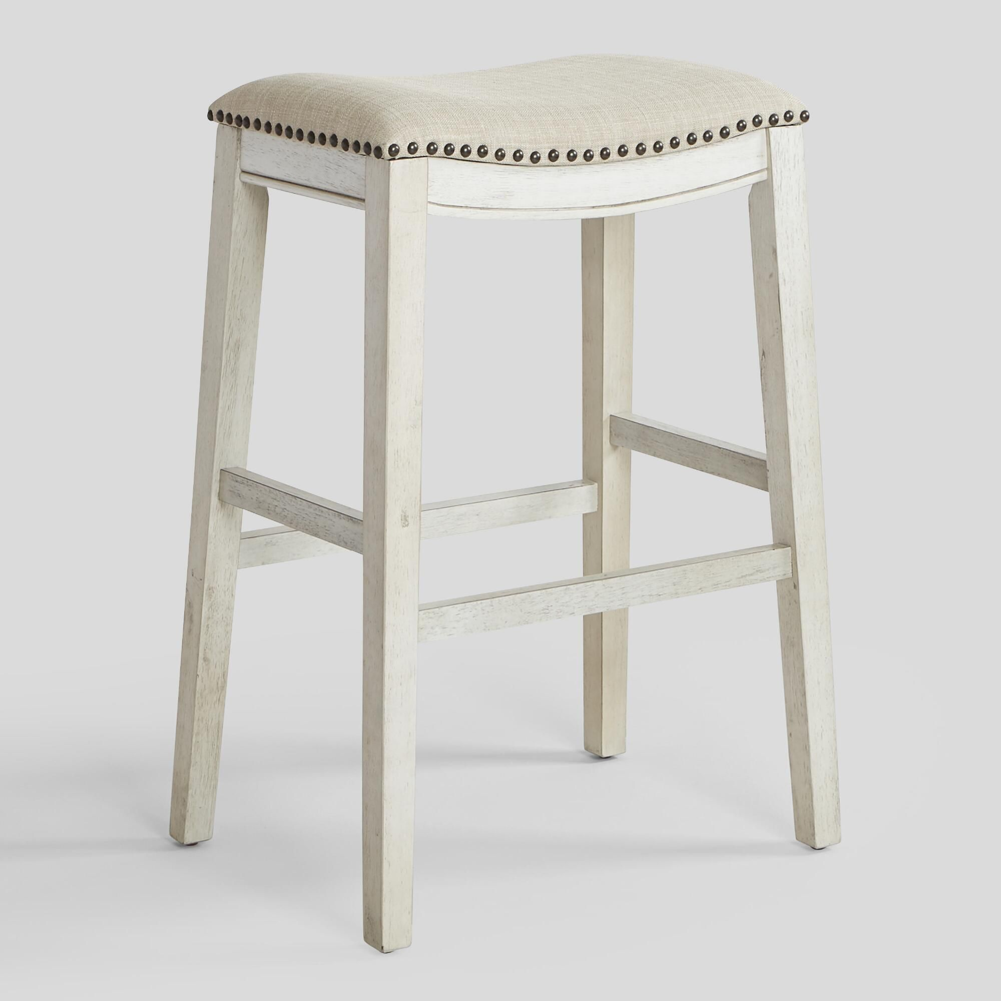 An Antiqued Wood Base In Gray Or White Lends A Vintage Feel To Our Sophisticated Barstools Detailed With Bar Stools How To Antique Wood Upholstered Bar Stools