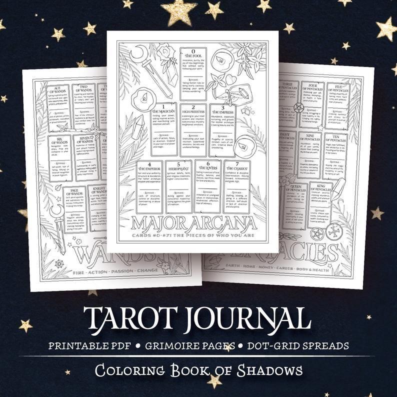 Coloring Book Of Shadows Tarot Journal Book Of Shadows Tarot Book Tarot