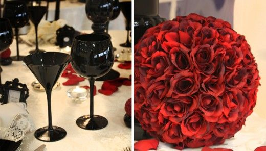Red Flowers And Black Silverware For Gothic Themed Wedding Wedding