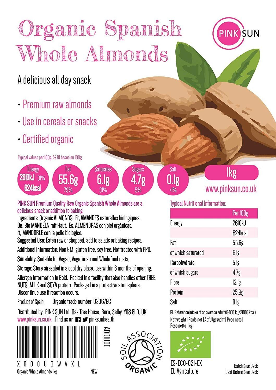 PINK SUN Organic Whole Almonds 1kg (or 2kg, 3kg, 5kg) Raw
