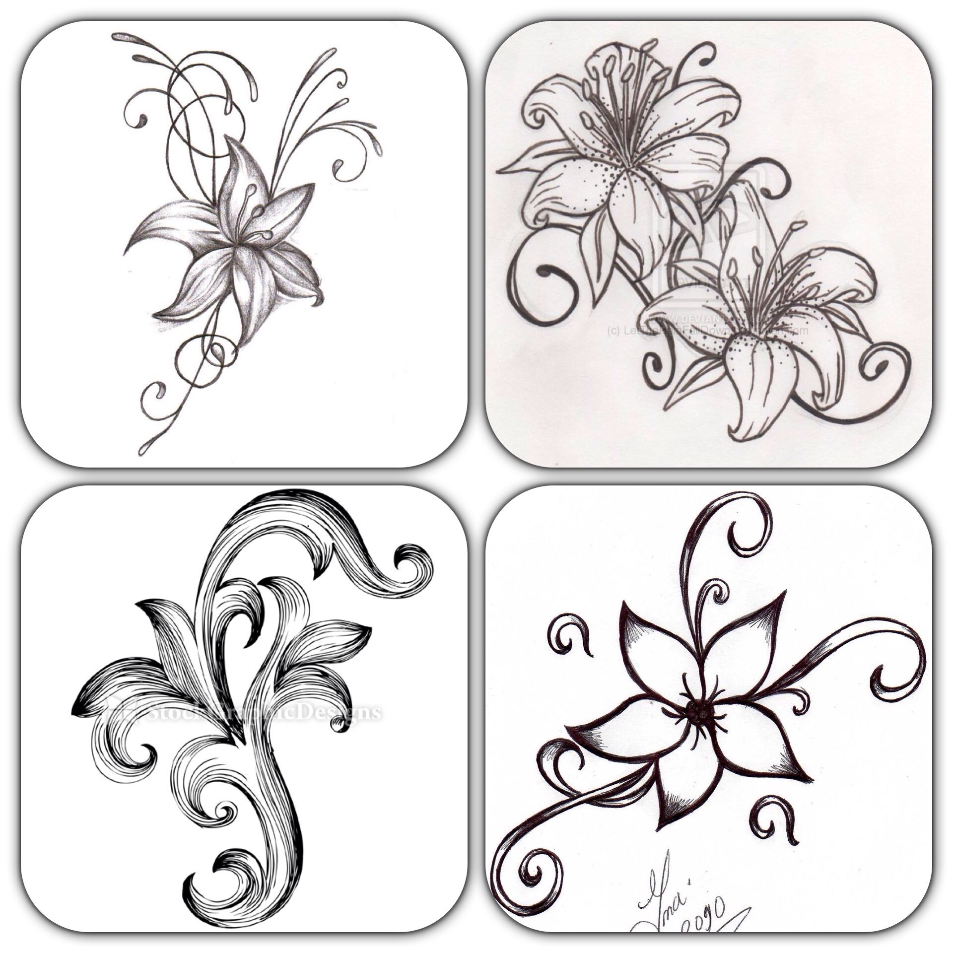 Flower Drawings Simple: Pin On SLEEVE PLANNING