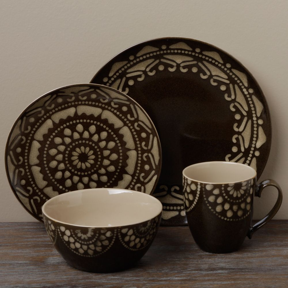 Tabletop Gallery u0027Moroccou0027 Brown 16-piece Dinnerware Set | Overstock.com Shopping - The Best Deals on Casual Dinnerware & Tabletop Gallery u0027Moroccou0027 Brown 16-piece Dinnerware Set | Overstock ...