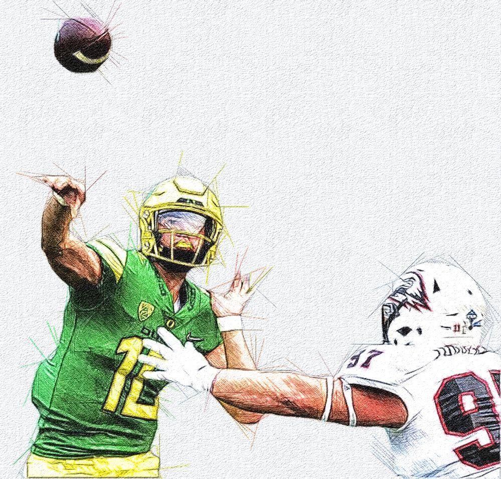 Justin Herbert Oregon Qb Football Illustration Ncaa College Ncaa College Football