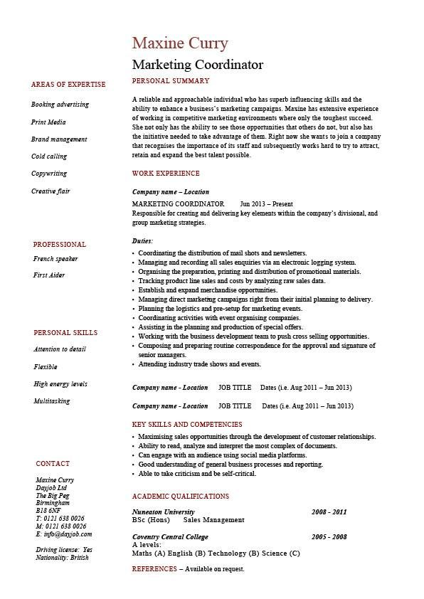 Assistant Property Manager Resume Marketing Coordinator Resume Sales Example Sample Advertising