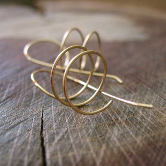14k Solid Gold Spiral Wire Earrings Fall Fashion by KoiMetals, $120.00