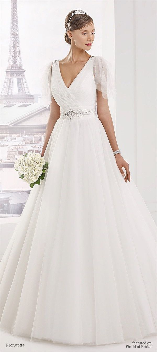 Wedding dresses with beading  Aline Wedding Dresses  Tulle wedding dress marked by high