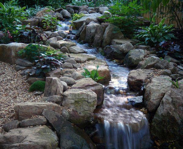 Water garden streams down hill streams bridge streams for Backyard streams and waterfalls