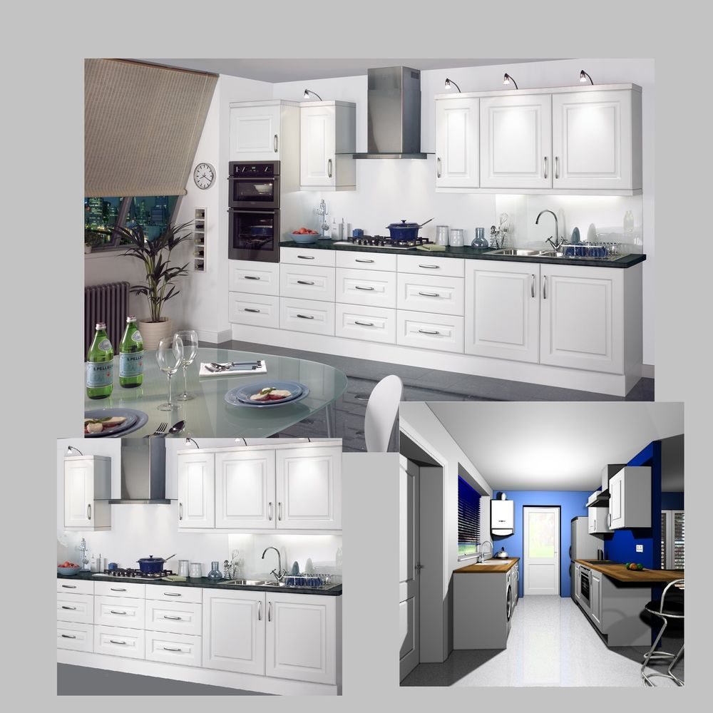 Shaker White Modern Classic Kitchen Complete Fitted Units Cabinets Doors New Classic Kitchen Cabinets Cabinet Doors For Sale Classic White Kitchen