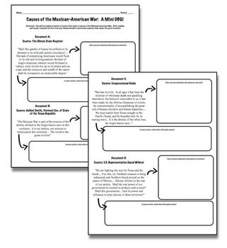 006 Causes of the MexicanAmerican War A Mini DBQ! Students