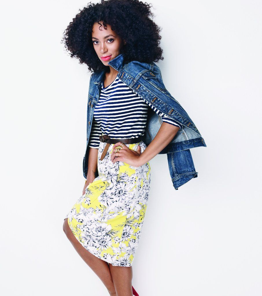 A floral pencil skirt gets paired with a striped tee and denim jacket for a casual take on ladylike dressing.