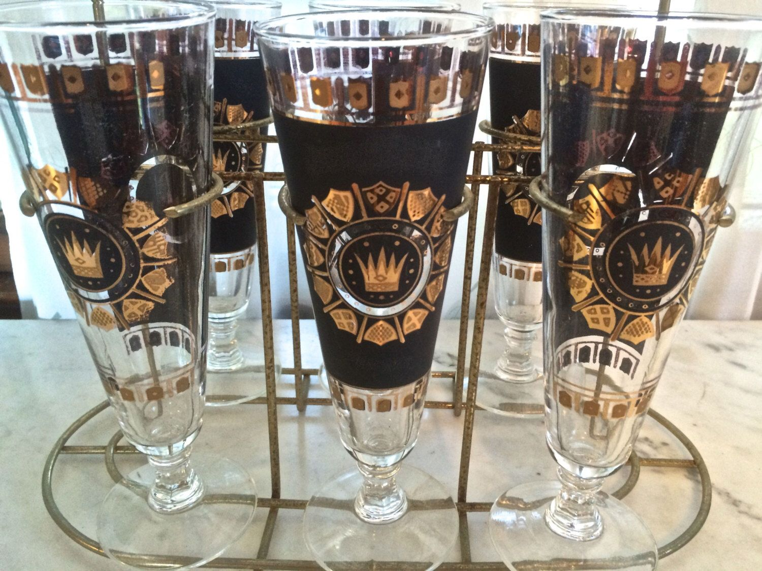 Vintage Black And Gold Crown Pilsner Glasses In Gold Metal Carrier  Midcentury Barware Retro Barware Vintage Beer Glasses Vintage Barware