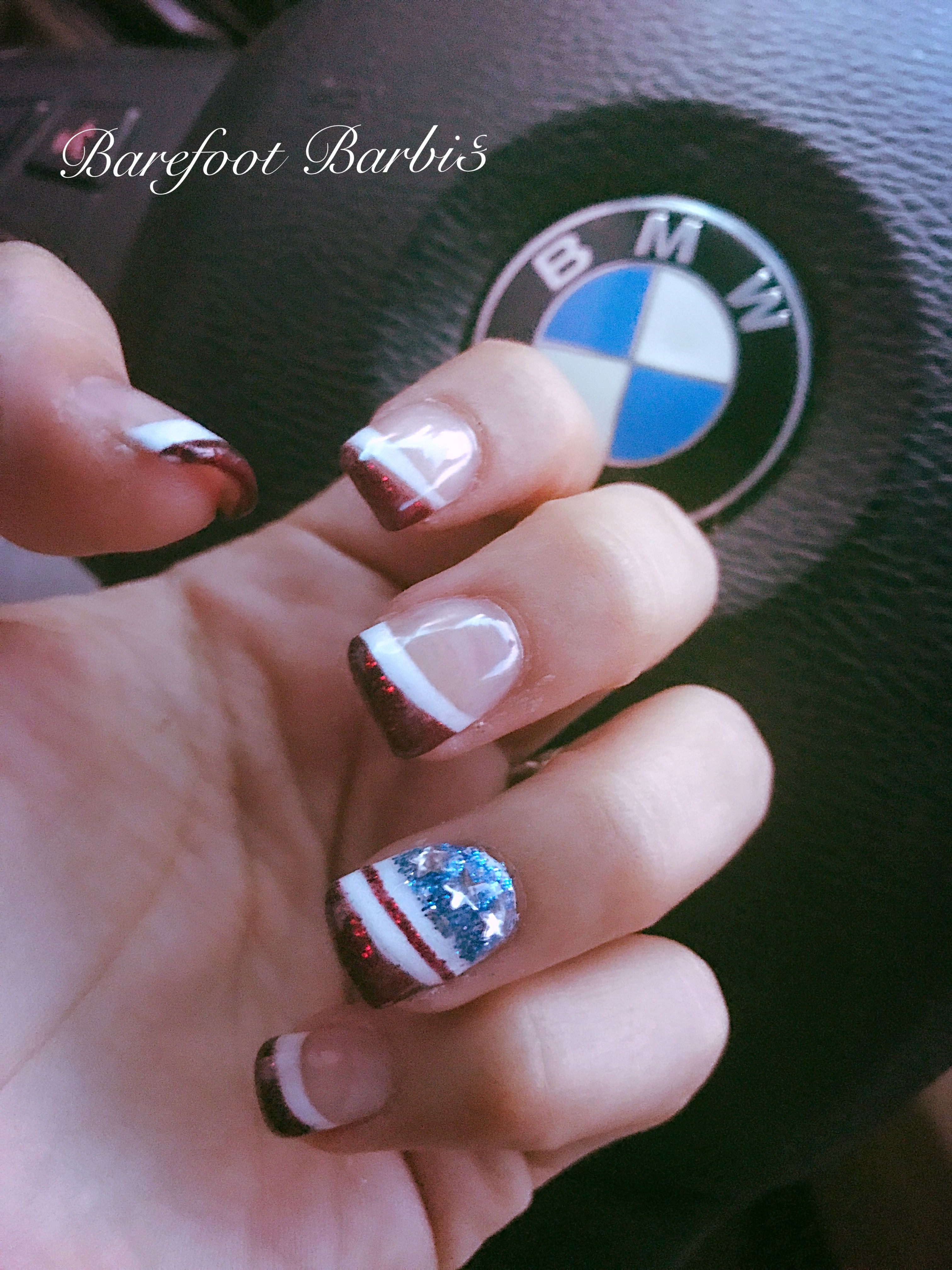 Barefootbarbi3 Fourth Of July Nails American Nails Memorial Day Labor Day Nails Red White And Blue Iloveamerica American Nails Holiday Nails Nail Art Summer