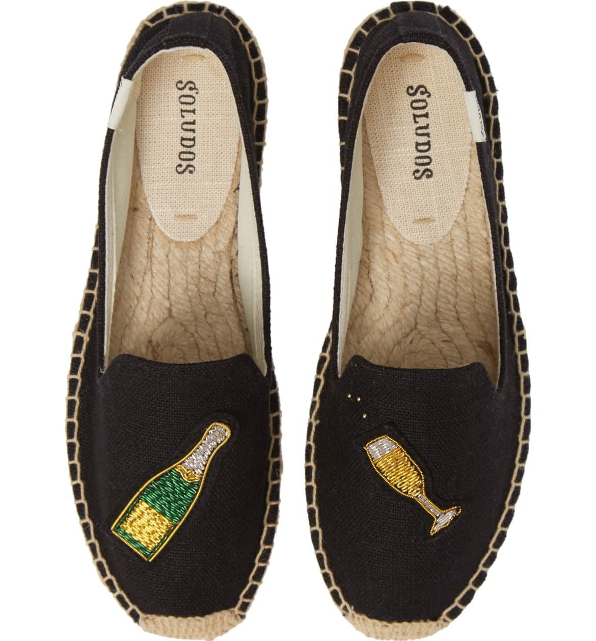 078e48d37a Soludos Cheers Espadrille with champagne bottle BLACK