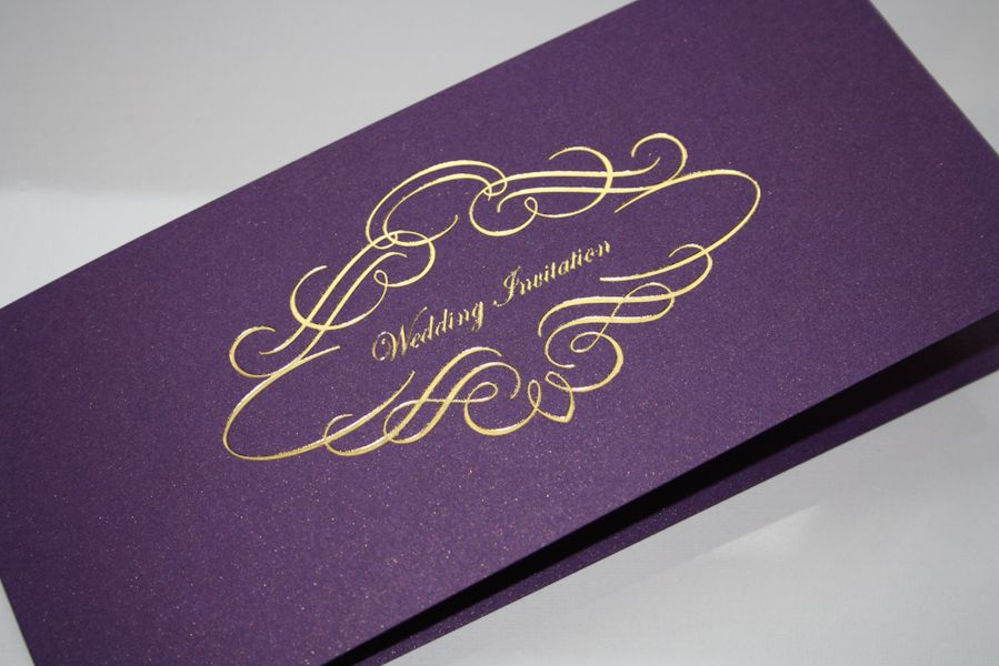 Venice Foiled Invitation Cadburys Purple with Silver or Gold ...