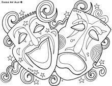 mardi gras coloring pages from doodle art alley