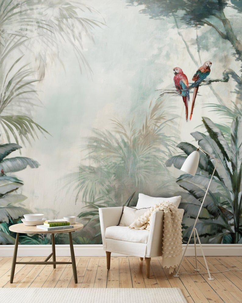 Amazon Forest Wallpaper Parrot Green Tropical Bedroom Wall