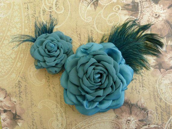 Teal Bridal Hair Clip Blue Silk Hair Flower by TwoCatsAndAnOwl