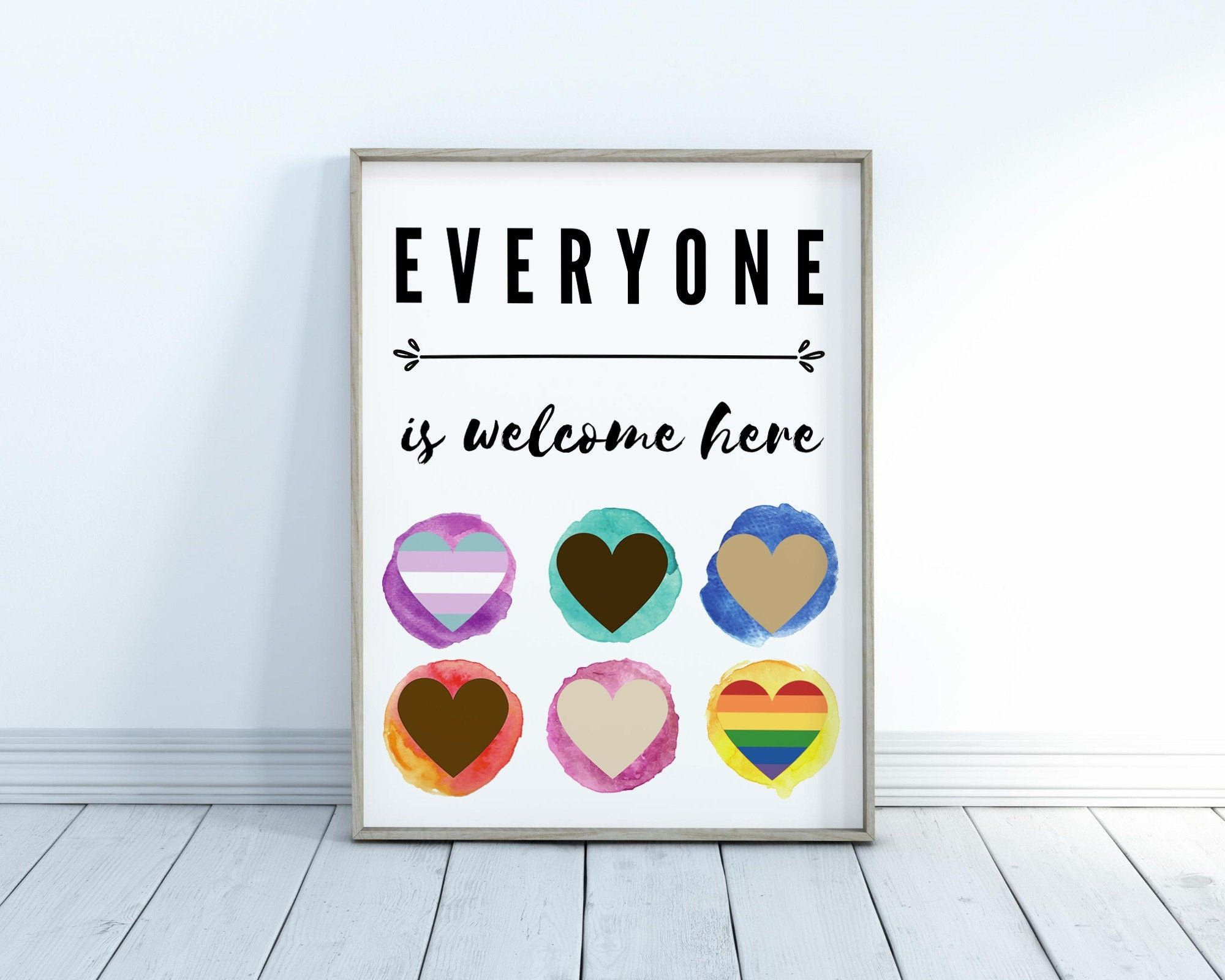 Printable Diversity Poster Wall Art Everyone Welcome Classroom Poster Inclusion Kids Educational Prints Printables School Poster Diversity Poster School Posters Prints