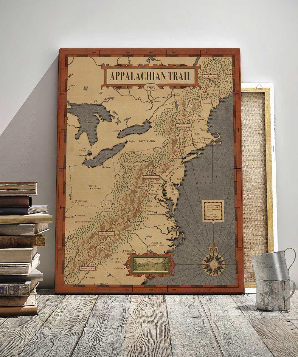 Appalachian Trail Map Appalachian Trail Map Appalachian Trail Hand Illustration