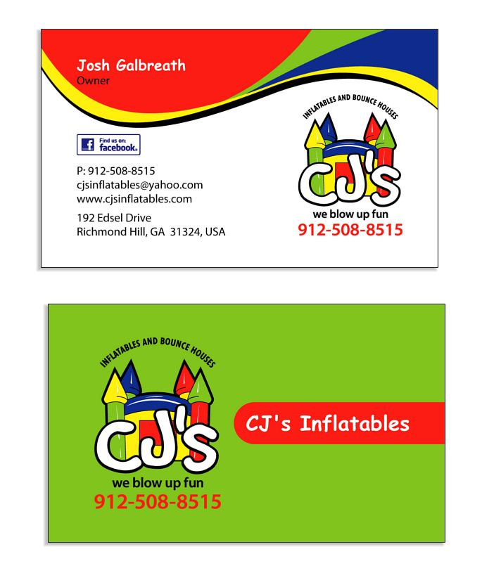 Cj S Inflatables Smart Looking Business Card Back And Front Great Fun Colors And A Childish Font Works Well Business Design Business Logo Design