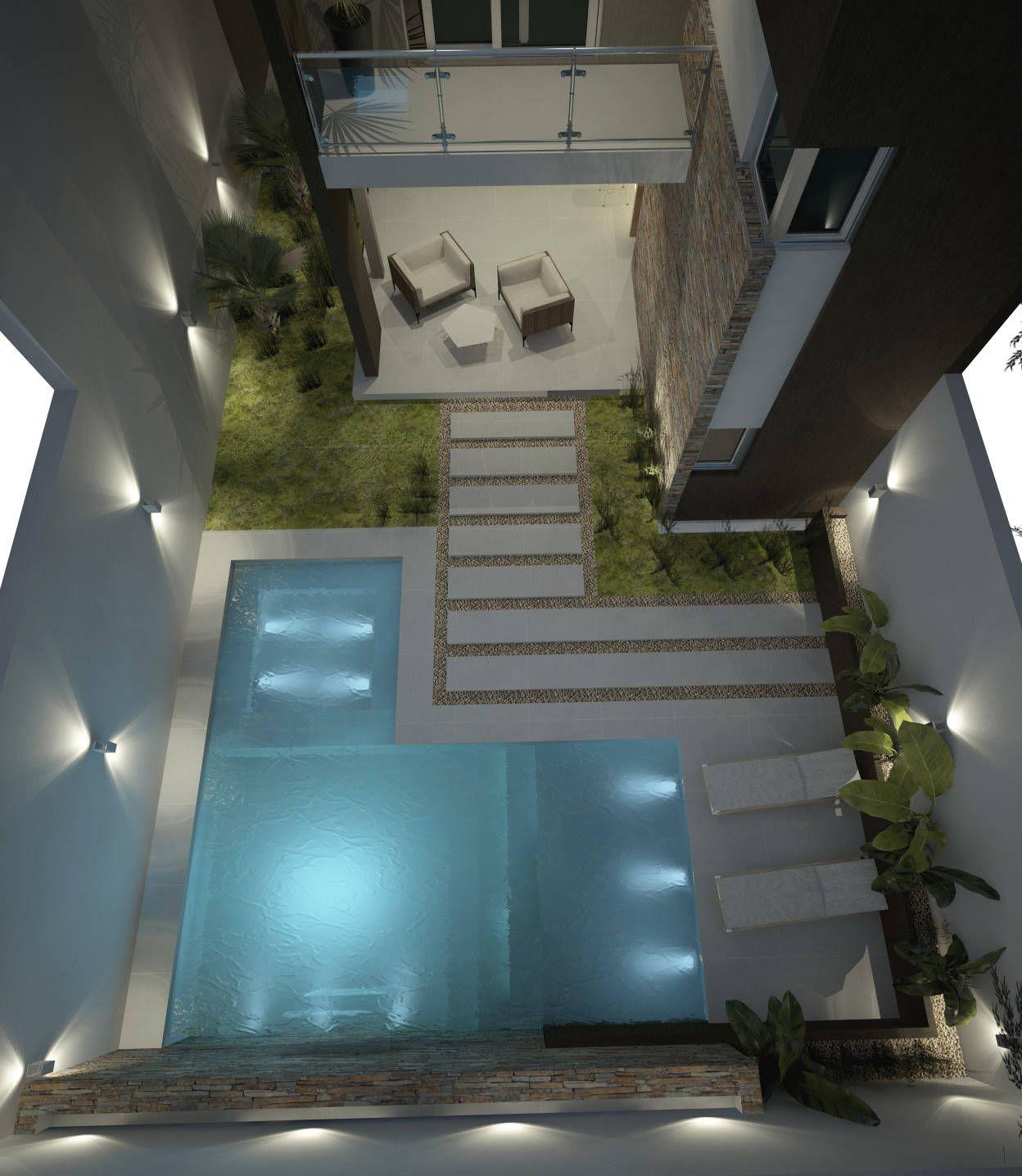 Fotos de piletas de estilo moderno dise o de patios for Pileta jardin pequeno