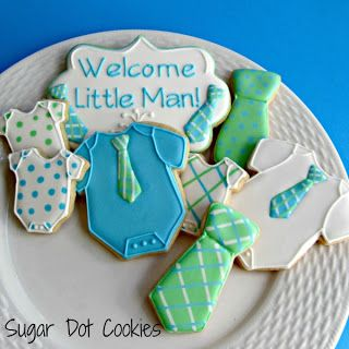Sugar Dot Cookies: Baby Boy Shower Sugar Cookies with Royal Icing - like the plaque cookie