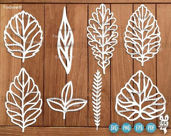 Leaves Svg SET 1 , Leaf Svg File 8 Leaf Designs | Leaves Cutting Svg | Wreath elements svg | Nature svg | Plants Svg | Cricut | Silhouette
