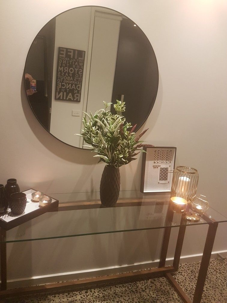 Freedom Kyra Glass Console Table And Dylan Round Mirror Glass Console Table Console Table Table