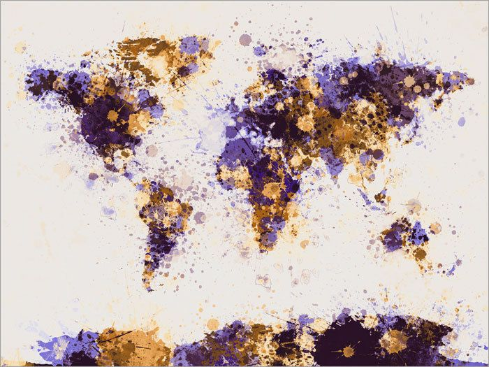Paint splashes map of the world map art print 18x24 inch 194 world map paint splashes michael tompsett gumiabroncs Image collections
