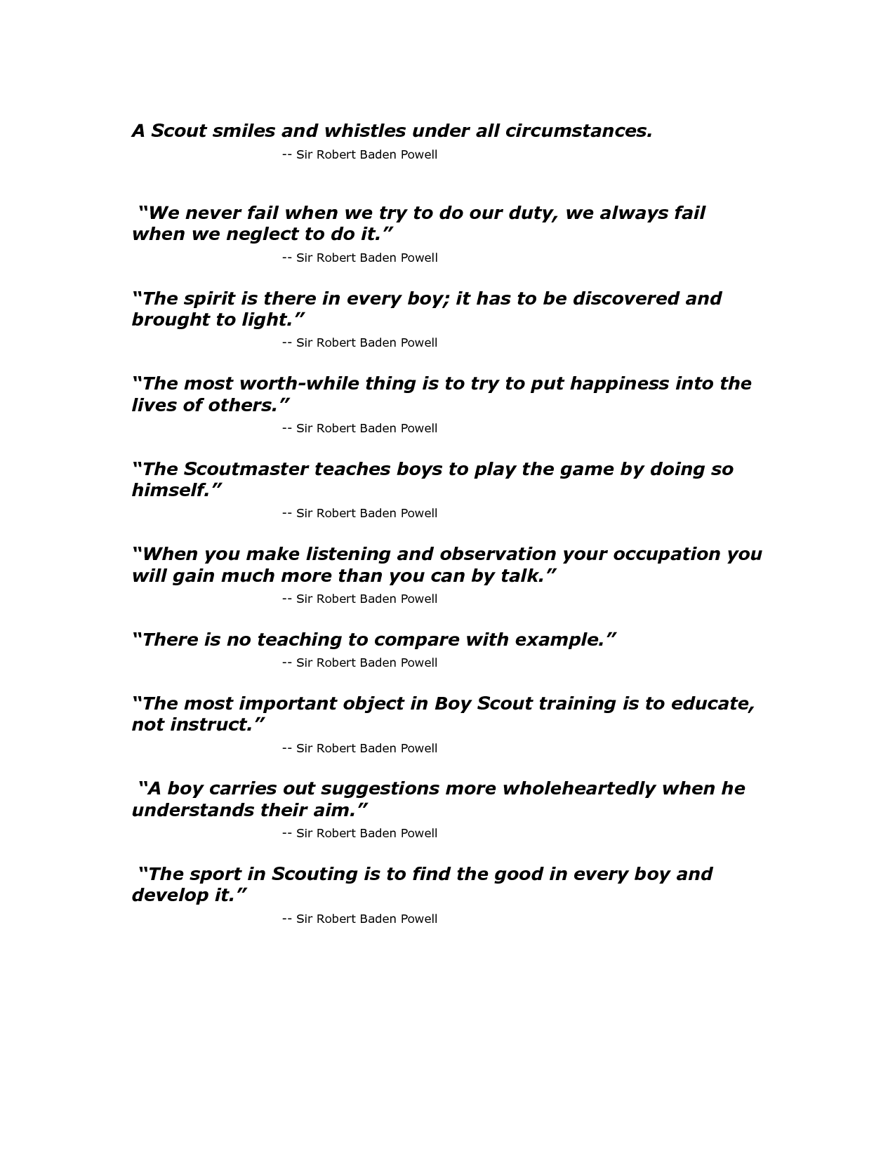 Baden Powell quoats | Baden Powell Quotes | Scout Stuff | Pinterest ...