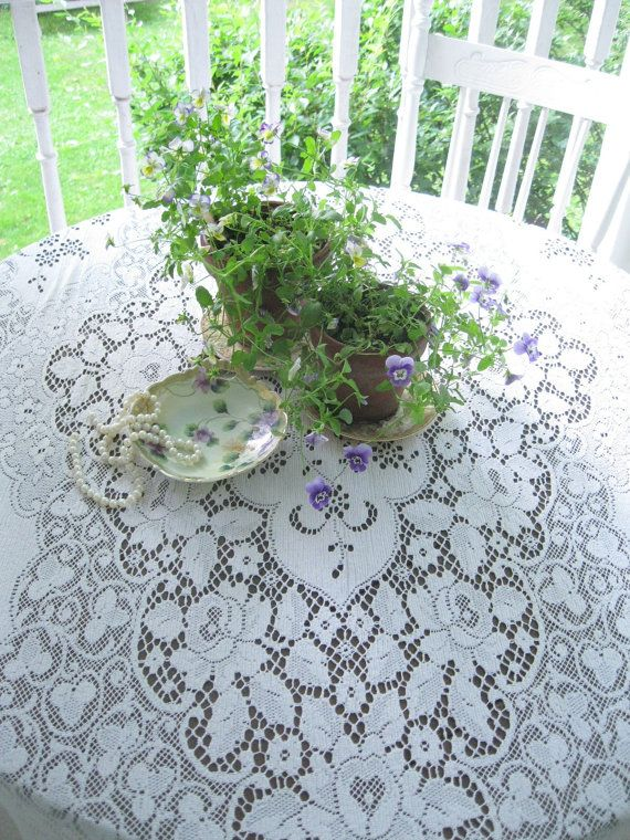 Ordinaire Shabby Chic Netted Lace Tablecloth Lace By Mailordervintage