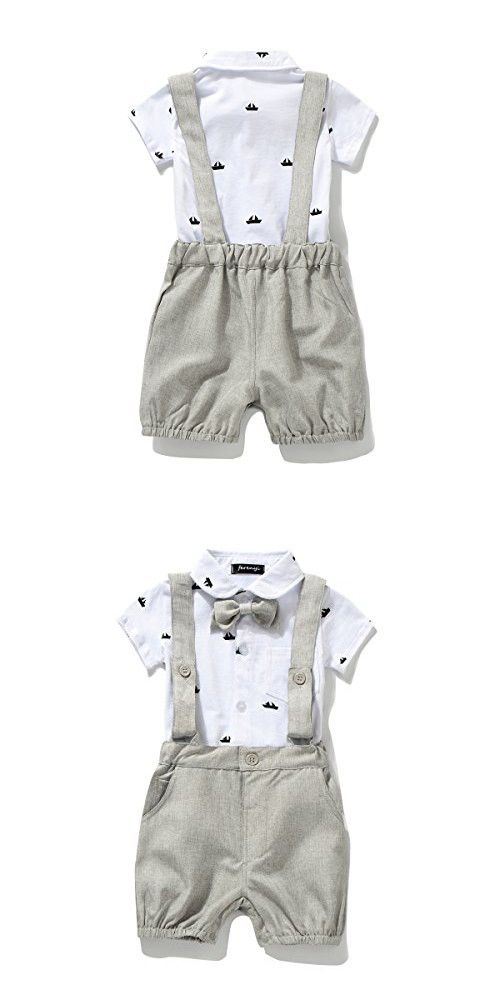 Ferenyi US Baby Boys Bowtie Gentleman Romper Jumpsuit Overalls Rompers (7-12 months, Gray)