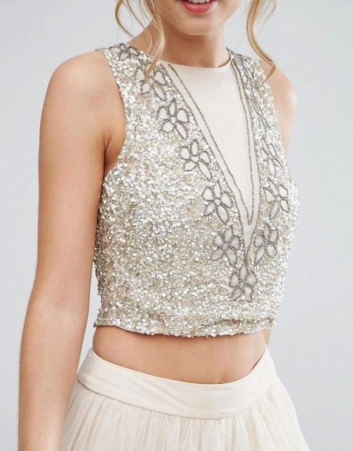 1a8fdb86b94cd3 Lace & Beads Crop Top with Floral Embellishment | sequined stuff ...