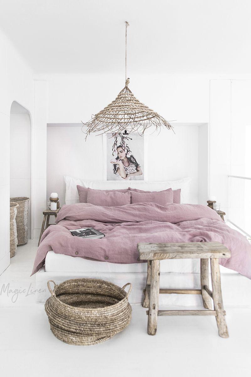 Dusty Pink Linen Bedding  Deco chambre, Literie en lin, Idée chambre