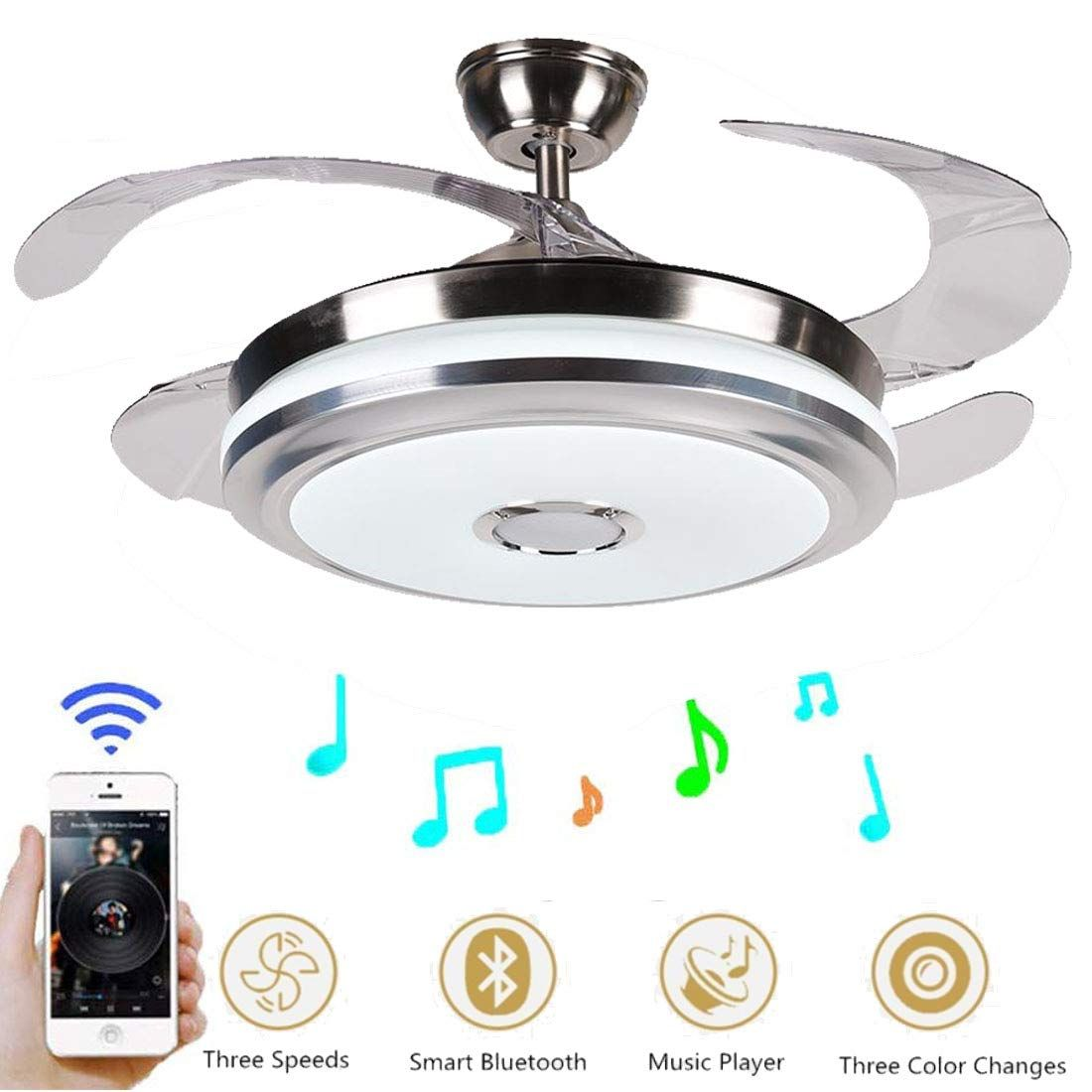42 Inch Modern Music Ceiling Fan Light With Bluetooth Speaker Check Out This Great Product It Is An Affilia Ceiling Fan With Light Chandelier Fan Fan Light