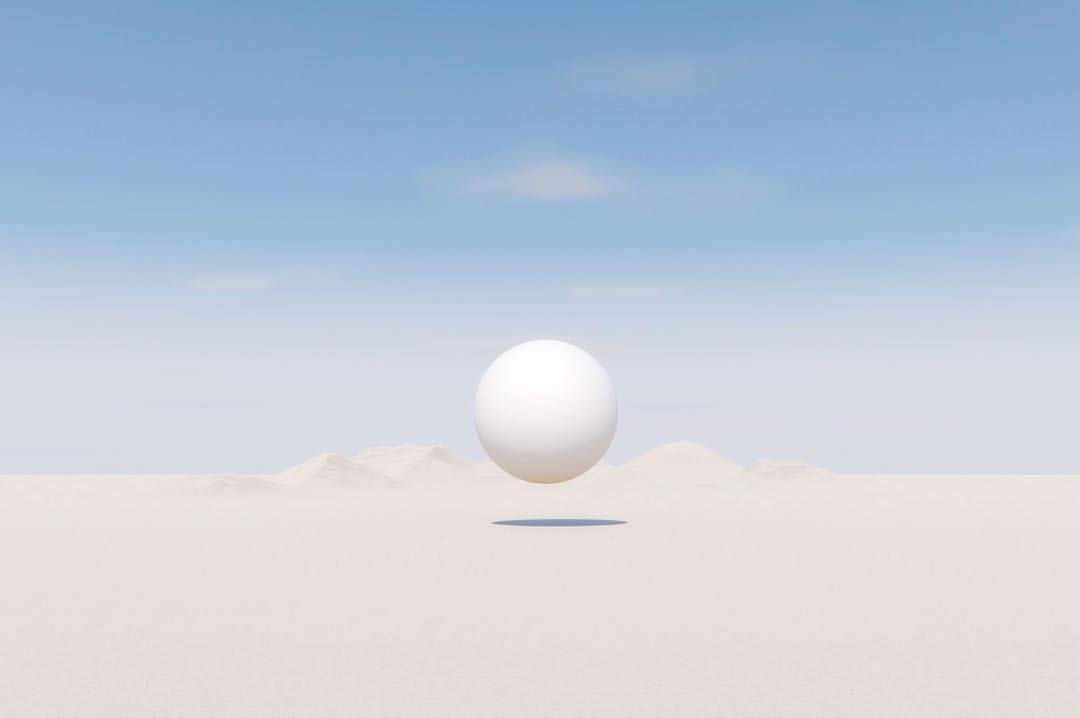 """@flashgradient on Instagram: """"Moon #desert #nowhere #minimal #sphere #pale #moutain #landscape #artificial #sky #color #oftheafternoon #artwork #paperjournalmag"""""""