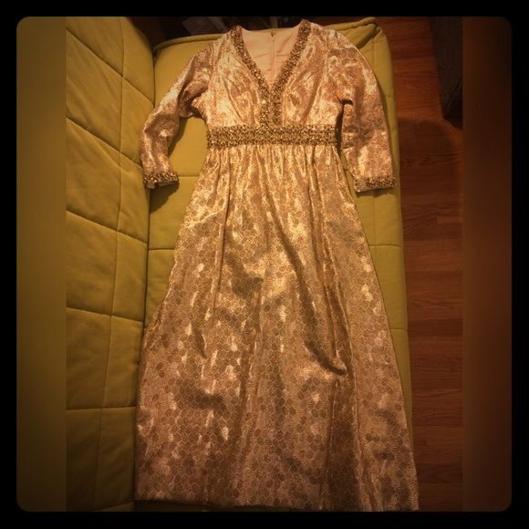 """VINTAGE HANDMADE DRESS! Vintage handmade dress - amazing for a costume or for theatre or a theme party. Roughly size 4, and meant for someone 5' to 5'2"""". Beautiful detail with beading and embroidery- no tags- all ordinal work! Dresses Long Sleeve"""