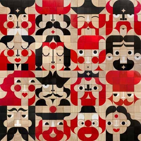 Zoe Miller and David Goodman's hand-printed wooden blocks for constructing pictures of faces