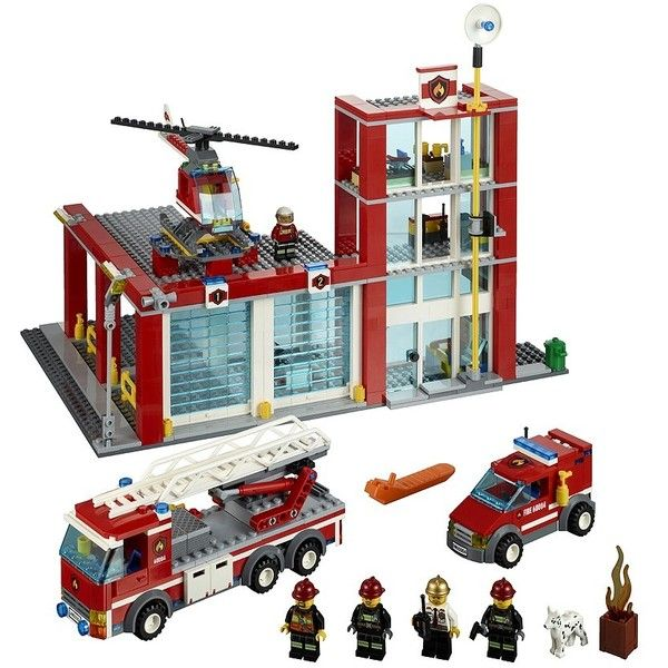 LEGO City Fire Station (1.555 ARS) ❤ liked on Polyvore featuring home, children's room and toys
