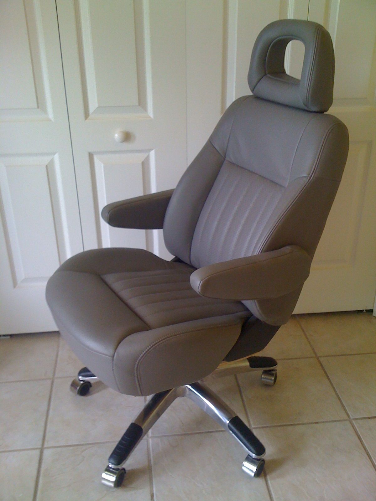 Car seat transformed into executive office chair by Planet Upcycle