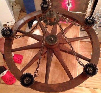 Cabin Vintage 5 Light Copper Wood Wagon Wheel Chandelier