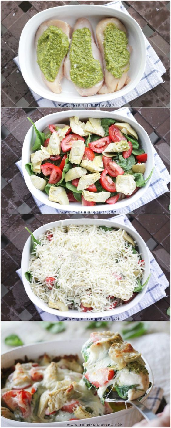 Easy pesto spinach artichoke chicken bake recipe step by step easy pesto spinach artichoke chicken bake recipe step by step instructions you forumfinder Choice Image