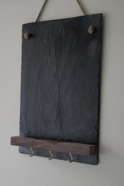 Slate Chalkboard With Platform And Hooks Slate Tile Crafts Slate Roof Tiles Tile Crafts