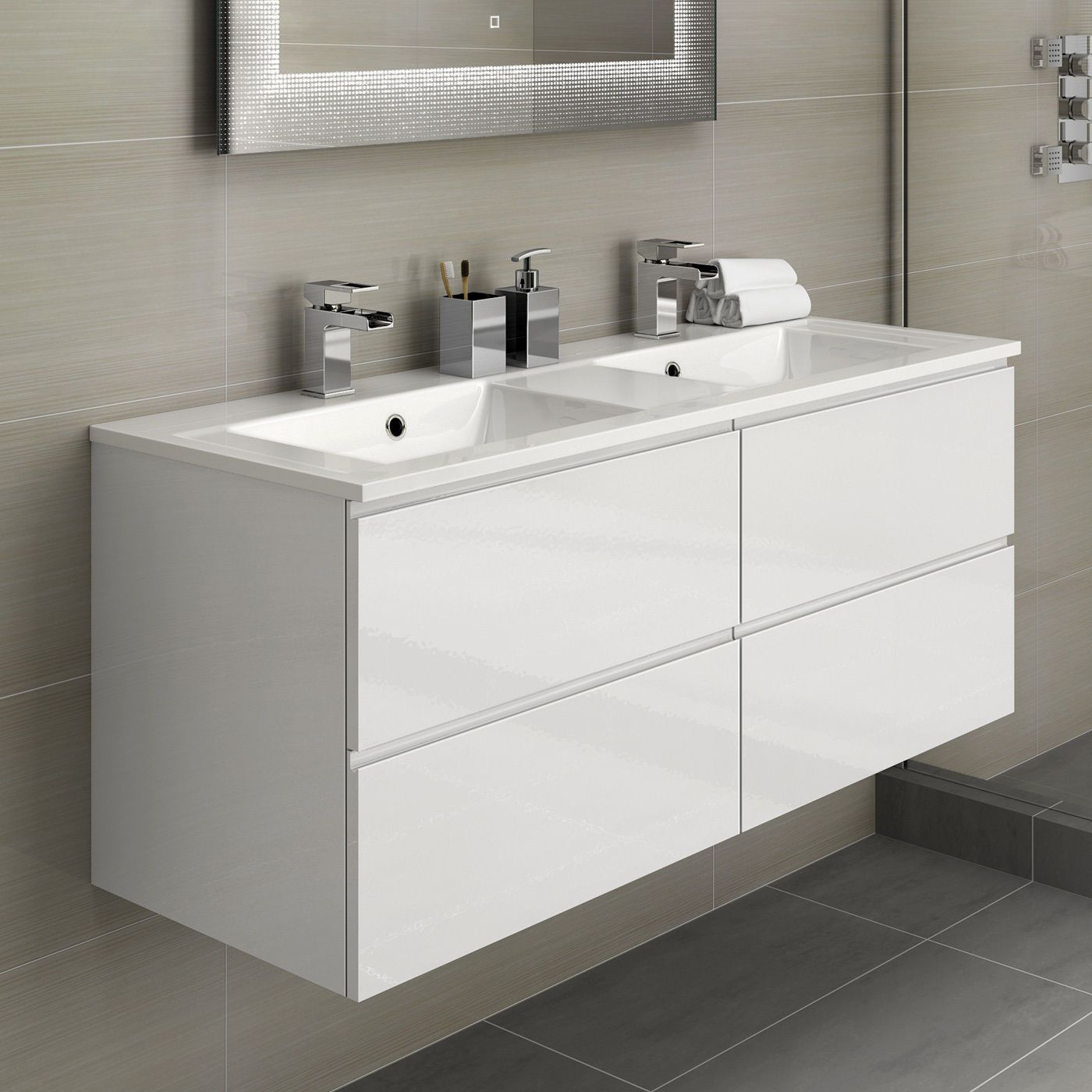 White Double Basin Bathroom Vanity Unit Sink Storage Modern