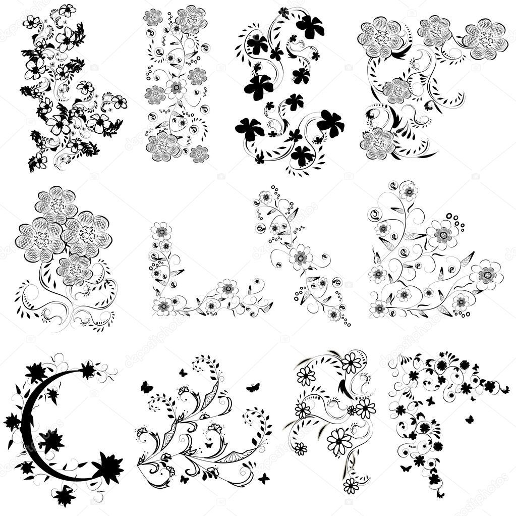 Download royaltyfree Black and white flowers angle set