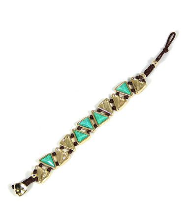 Look what I found on #zulily! Gold & Turquoise Triangle Bracelet #zulilyfinds